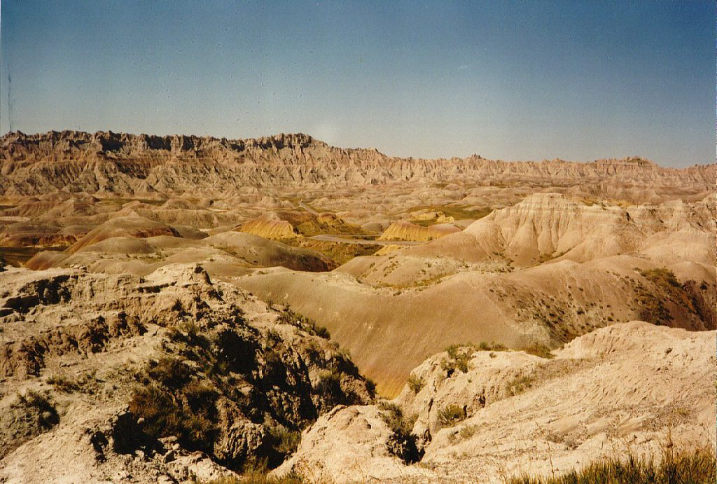The Badlands. Barren, but colourful. The terrain can change with a single rainfall.