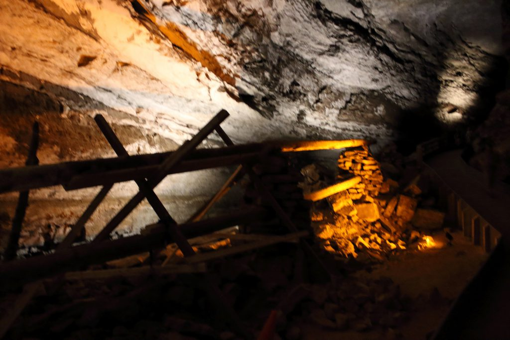 Saltpeter mining near the natural cave entrance. This mine was very active during the war of 1812.