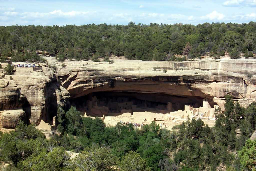 This photo shows a view of one of the large cliff dwellings from the opposite canyon wall. You can see several tours going through the dwelling and this can serve to provide some perspective.