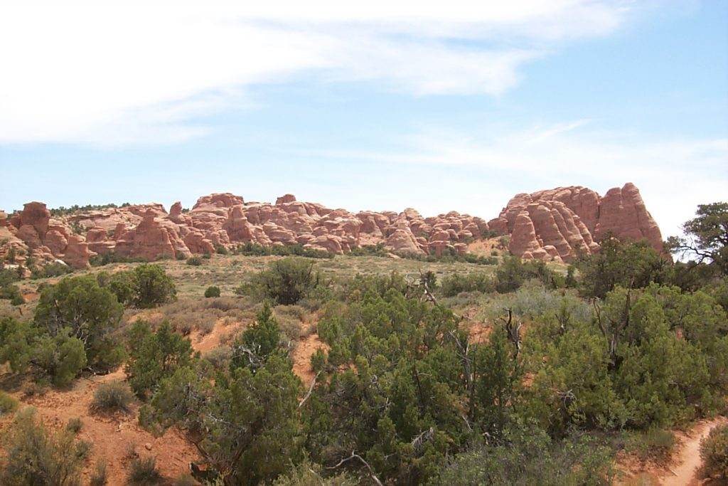 This photo looks back towards Devil's Garden from the trail to 'sand dune arch'. The campsite is beyond the row of fins shown here and many of the sites are nestled right between and among huge rock fins. It is these fins, of course, that eventually give rise to arches as they continue to erode.