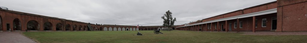 A panoramic view from inside the fort. This is the inner courtyard. Gun rooms, Barracks and Powder rooms all opened into this courtyard.