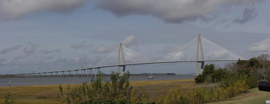 This is the Ravenal Bridge with a spectacular span to allow shipping. It connects North Charleston to Patriots Point.