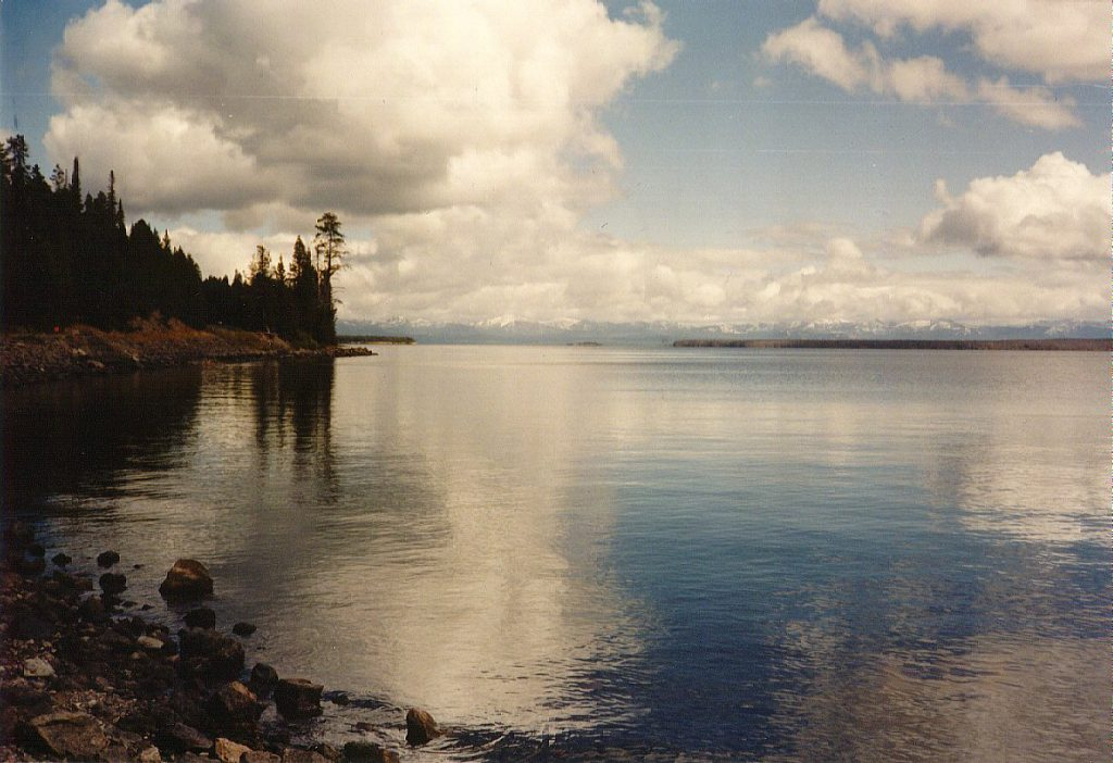 We set up camp at Grant Village, just at the eastern edge of Yellowstone Lake.