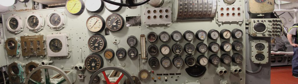 A control panel in the engine room.