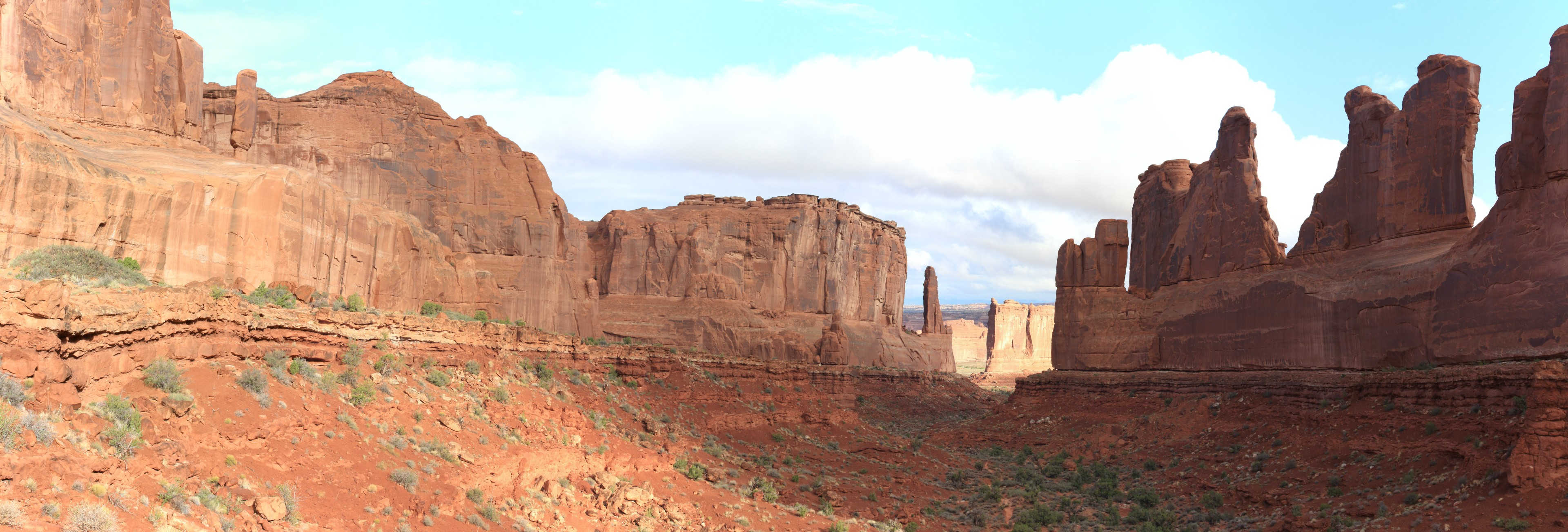The Park Avenue formed by a rock wall on the left and the Organ Pipe fins on the right.