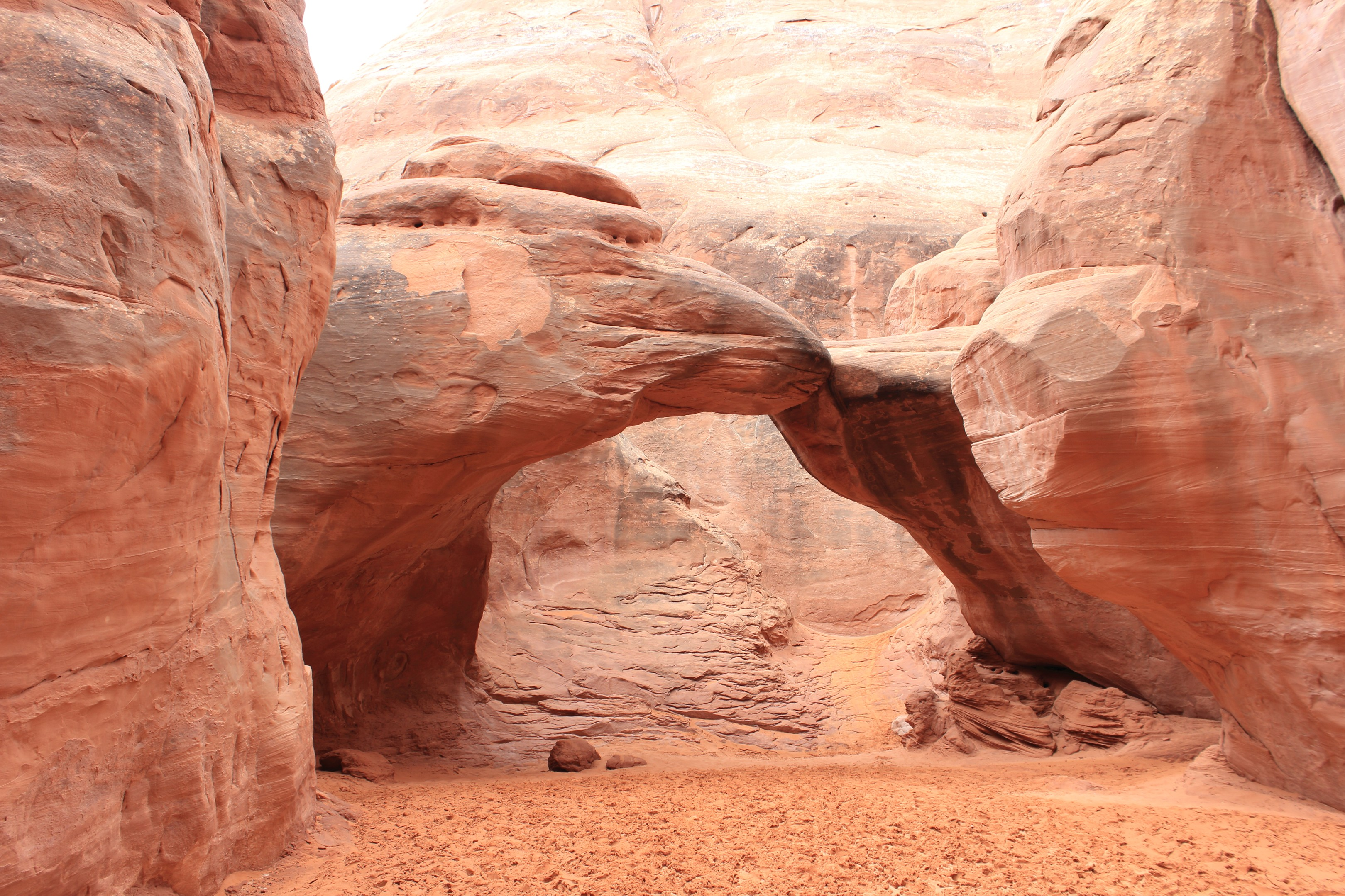 The Sand Dune Arch. This arch is in a long valley surrounded by large fins. The valley is filled with deep sand -- presumably retained by the fins and possibly deposited by the wind.