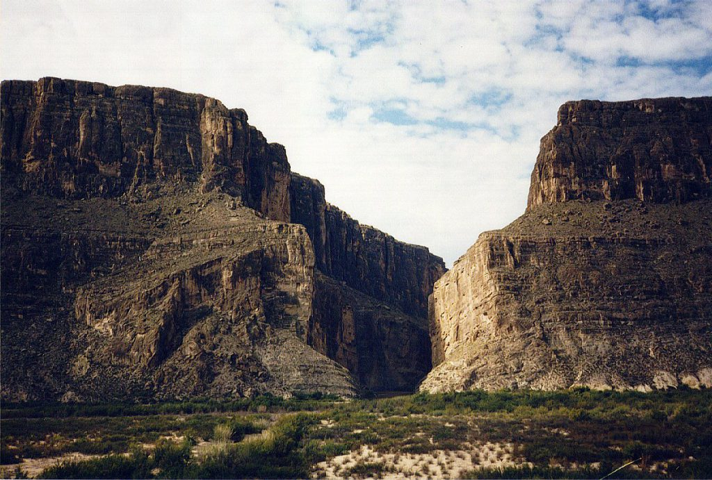 Just slightly up river (north) from the previous picture is the Santa Elena Canyon where the Rio Grand cuts through the same rift wall.