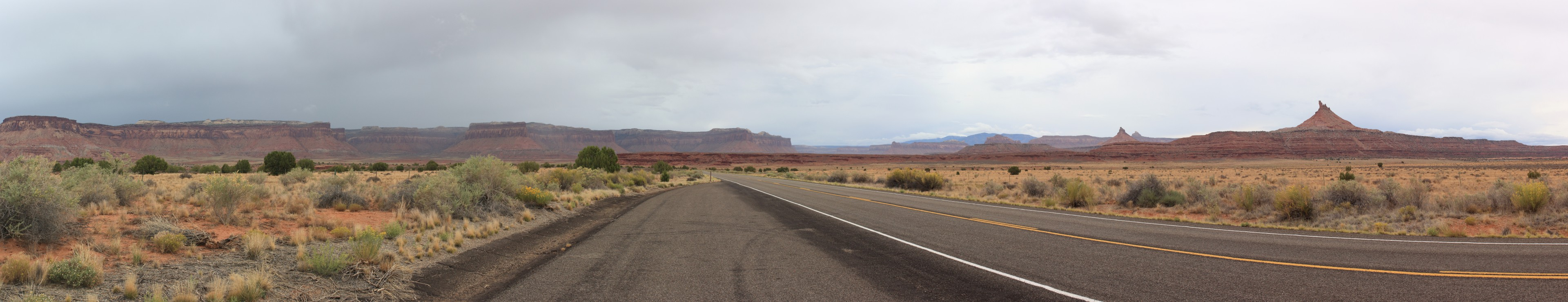 The Road to Needles. Storm weather was just clearing on our way in towards the park. You can see some beautiful landscapes with some 'monument valley' like spires and mesa tops.