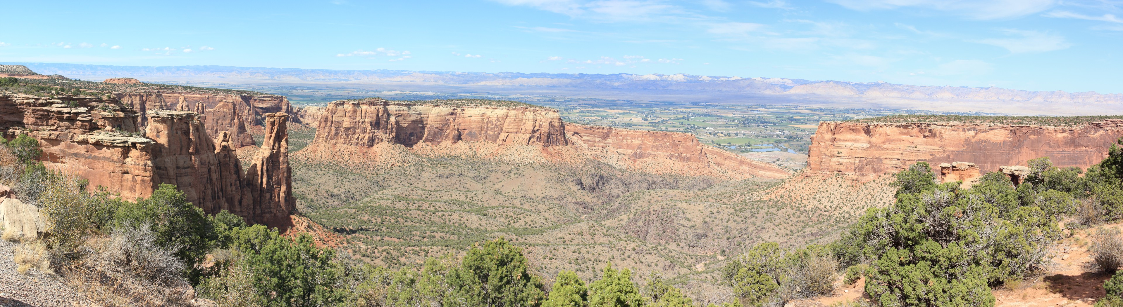 Scenic View -- Colorado National Monument. Looking north toward the Colorado (distant blue) and the Fruita Valley. Note the obvious limestone caps on the fins to the left and right of the frame.