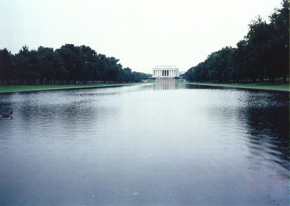 The Reflecting Pool and Lincoln Memorial.