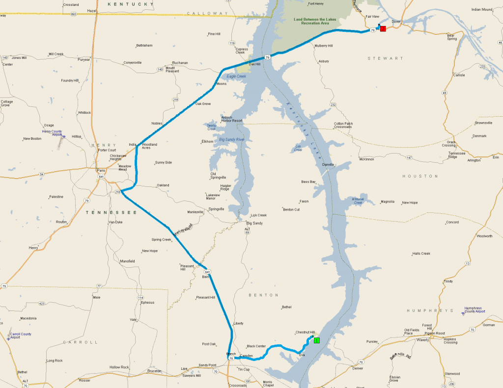 A track of our trip from Nathan Bedford Forest State Park to Fort Donelson.
