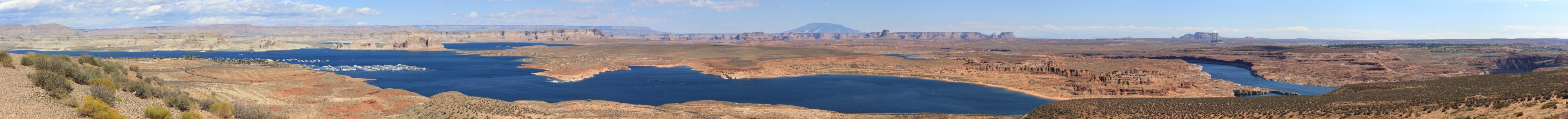 Glen Canyon/Wahweap. The southern end of the Glen Canyon Recreation Area -- the Wahweap Harbour on the left and the Hydro dam at Page on the right.