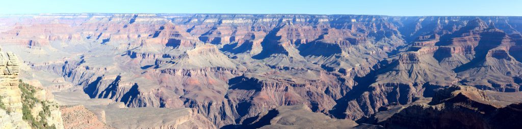 North from Mather Point. The bright sun almost washes out the left of the frame while the morning shadows darken the right. A study in contrast.