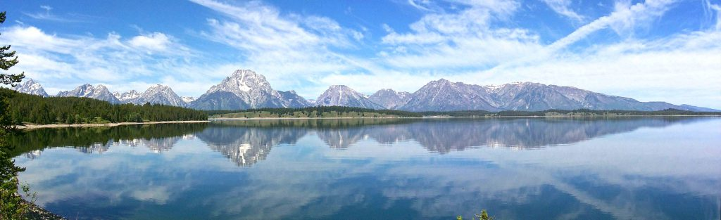 Looking West and North over Jackon Lake at the Teton Range.