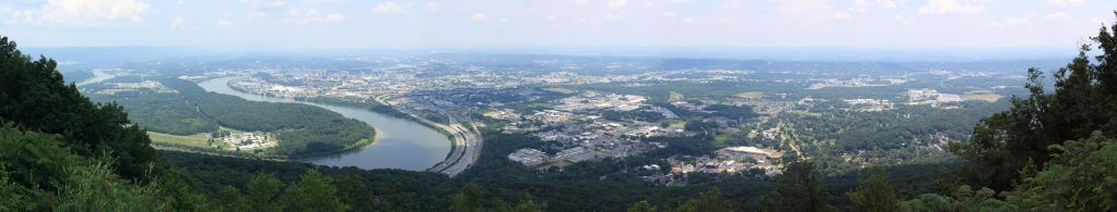 The view over Chattanooga from Lookout Mountain (looking north-east). You can see the 'Moccasin Bend' of the Tennessee river on the left.