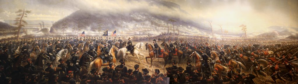 Artist rendering of the meeting of Grant and Rosecrans as Grant relieves the siege of Chattanooga. Hooker is shown in the far background near lookout mountain as he drove the Confederate army south to Dalton.