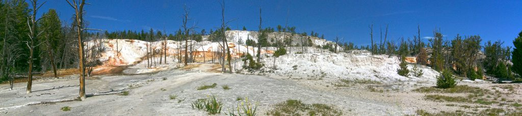 Travertine formations at Mammoth Hot Springs
