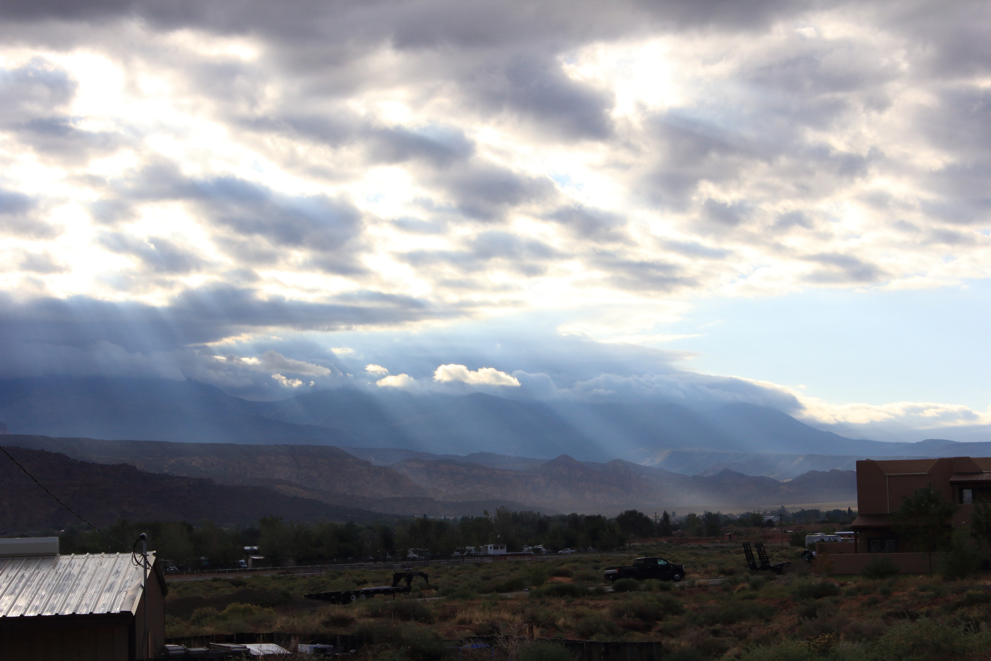 The La Sal Mountains. Taken from the KOA in Moab. As the clouds begin to clear, some God-Rays appear and I was fast enough with the camera to capture them.