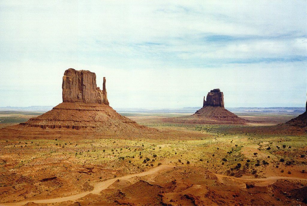 The Three Sisters (well two plus a bit) in Monument Valley.
