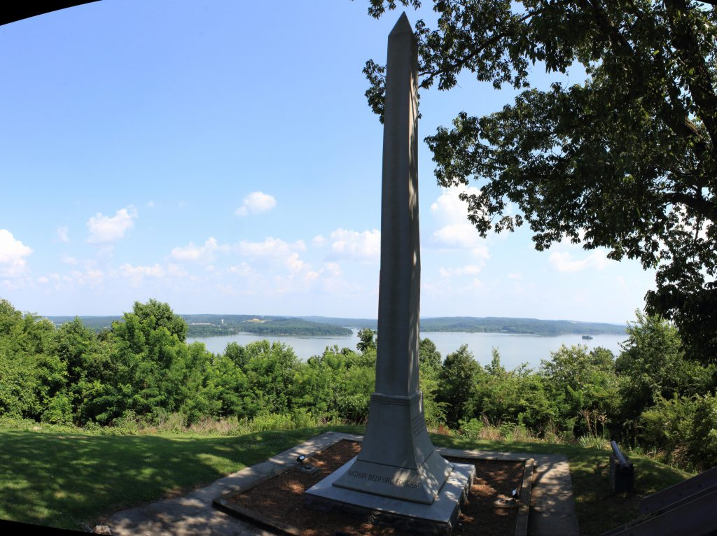 A memorial to Nathan Bedford Forest for a small battle he won here at the State Park bearing his name. The memorial overlooks Kentucky Lake (Tennessee River).