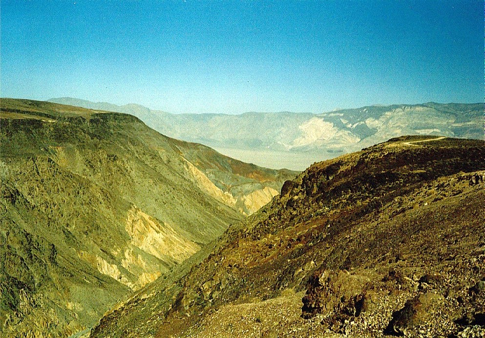 Climbing the Panamint Range. Woe to automobile cooling systems. You can see the Death Valley floor in the distance and the road cresting the top of the range in the far centre right.