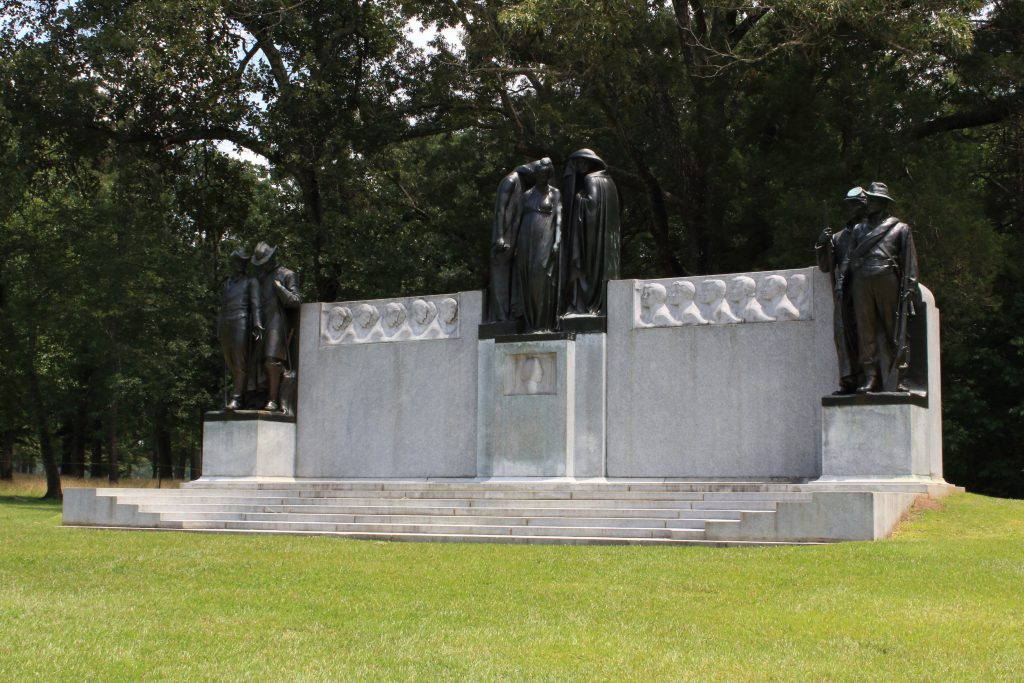 A confederate memorial showing the pride of the south entering the battle on the right and the dejection after defeat as they left the battle on the left. In the middle is the 'sisters of the confederacy' as they weep over A.S. Johnston's death during the battle.