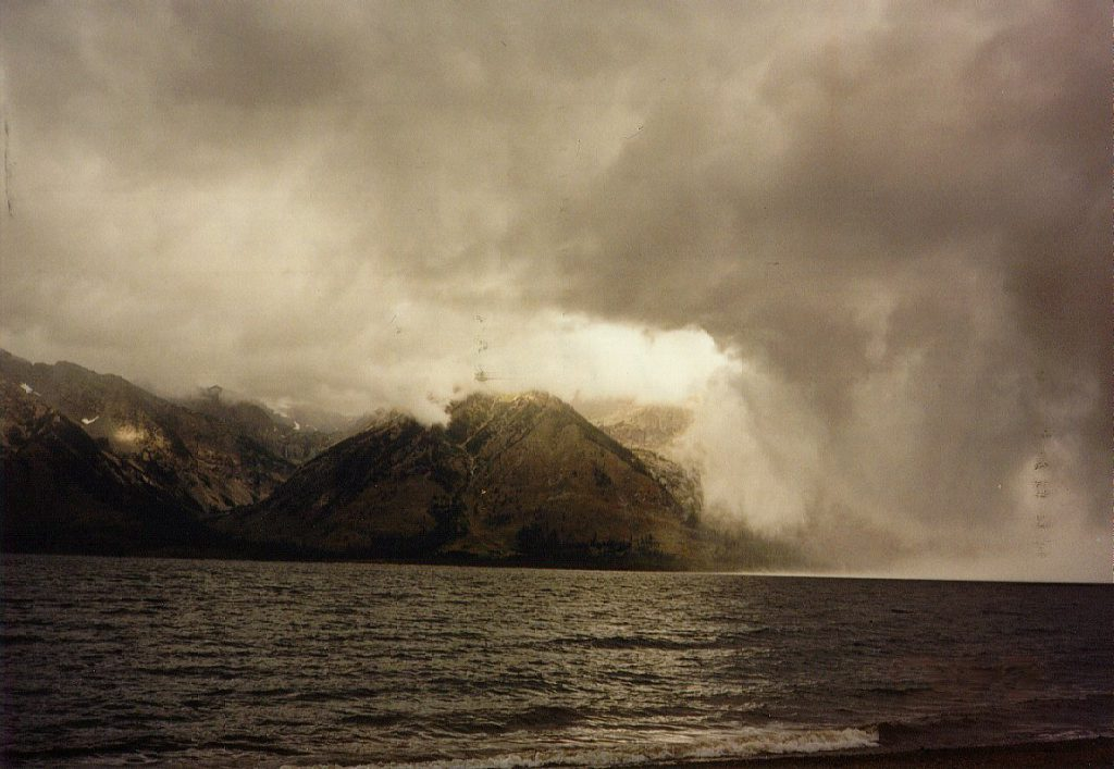 The same storm that chased us out of Yellowstone arrives at Jackson Lake.