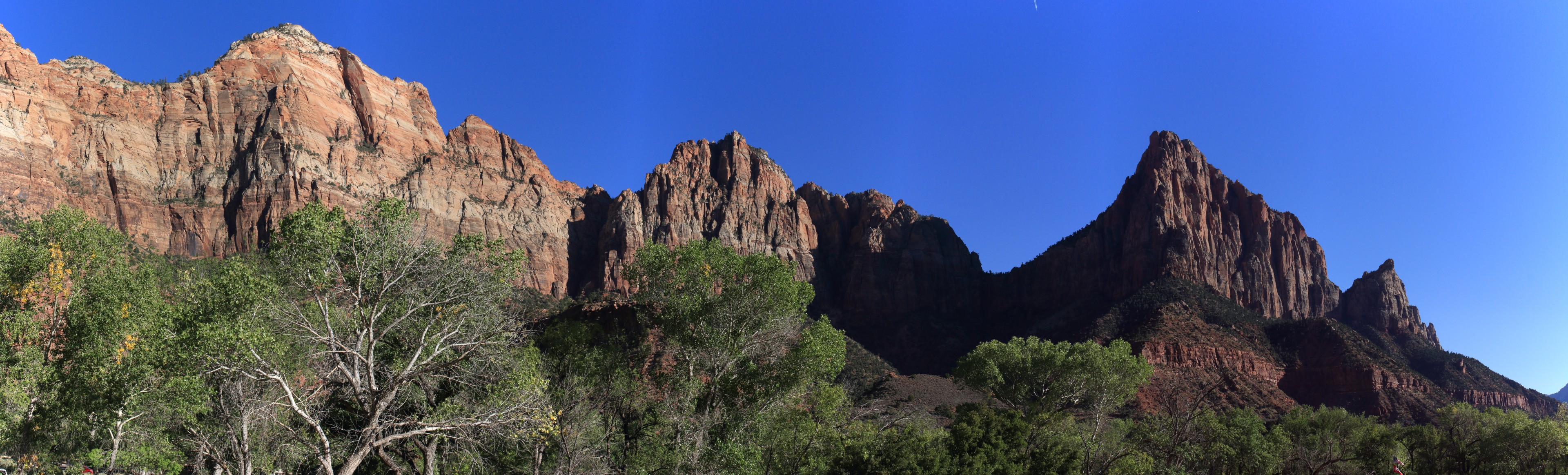 The Watchman. The view from the Watchman campground. The Watchman on the right, with Bridge Mountain on the left.